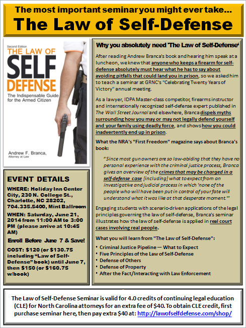The Law of Self Defense Seminar - 2014